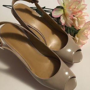 Nine West beige Nordra Patent Wedge Sandals